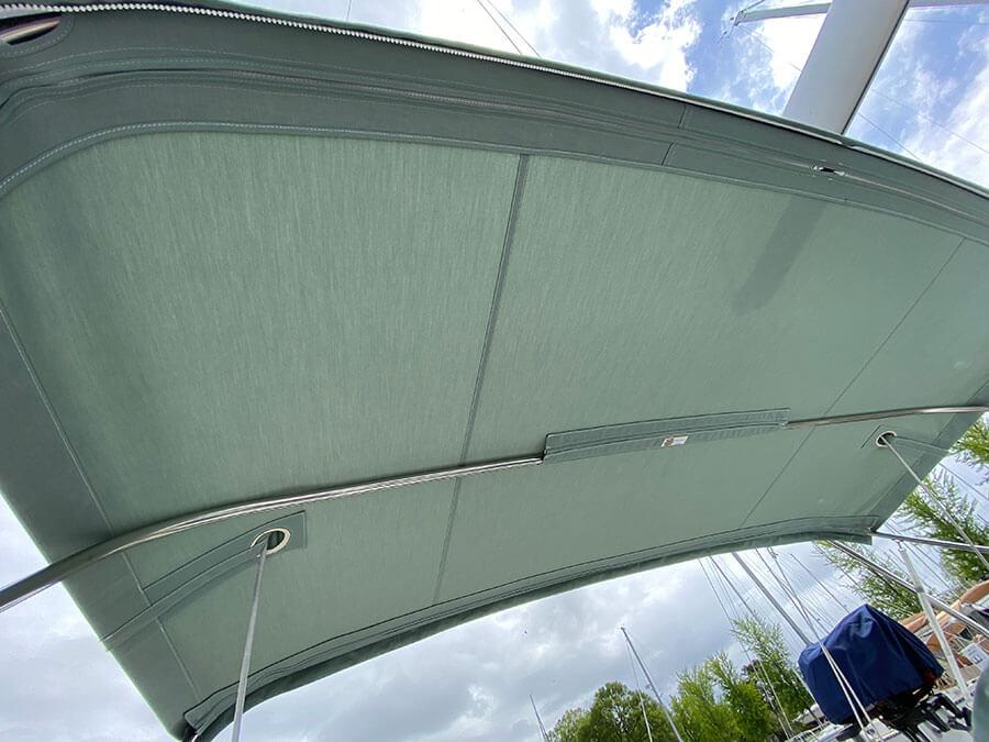 Beneteau 343 Bimini reinforced sidestay cutouts Sunbrella Spa