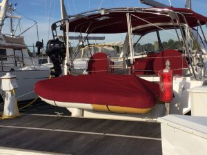 Beneteau 50' Dinghy Cover in Sunbrella Burgundy