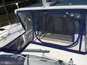 Bestway 42 Flybridge Aft Arch Enclosure made with Sunbrella and Strataglass