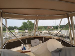 Sabre 36' Trawler Flybridge Laced top full enclosure made in Serge Ferrari Top Sand Rock Hall, MD