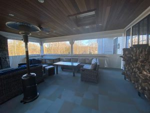 Porch enclosure lightweight clear vinyl and Herculite Riviera PVC fabric in white