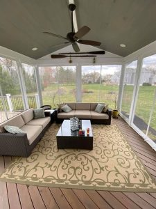 Screened in porch enclsoure lightweight clear vinyl and Herculite Riviera PVC fabric in snow white