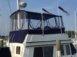 Sabre 36' Trawler Flybridge enclosure in Strataglass and Sunbrella Captain Navy