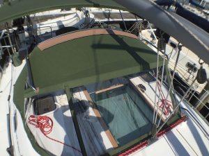 Beneteau 393 Dodger Sunbrella Fern, Strataglass 40G, Serge Ferrari Top Aft Chafing Patch