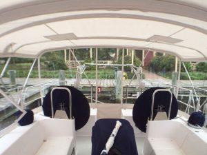 Catalina 445 Bimini with 2 helms windows and full enclosure